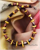 Bernstein, Tigerauge als Halskette, 46 cm mit 7 cm Verlängerung