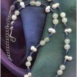 Perle, Blauquarz, Jade als Halskette