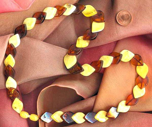 Heilstein Geborgenheit: Bernsteinkette braun und gelb